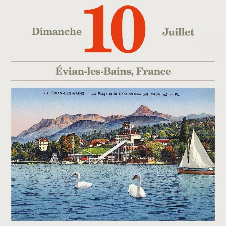 Ansichtskarte von Évian-les-Bains am Ufer des Genfer Sees, um 1910 — Ruhetag der Konferenz — Archives départementales de la Haute-Savoie, Annecy, 8Fi EVIAN_159