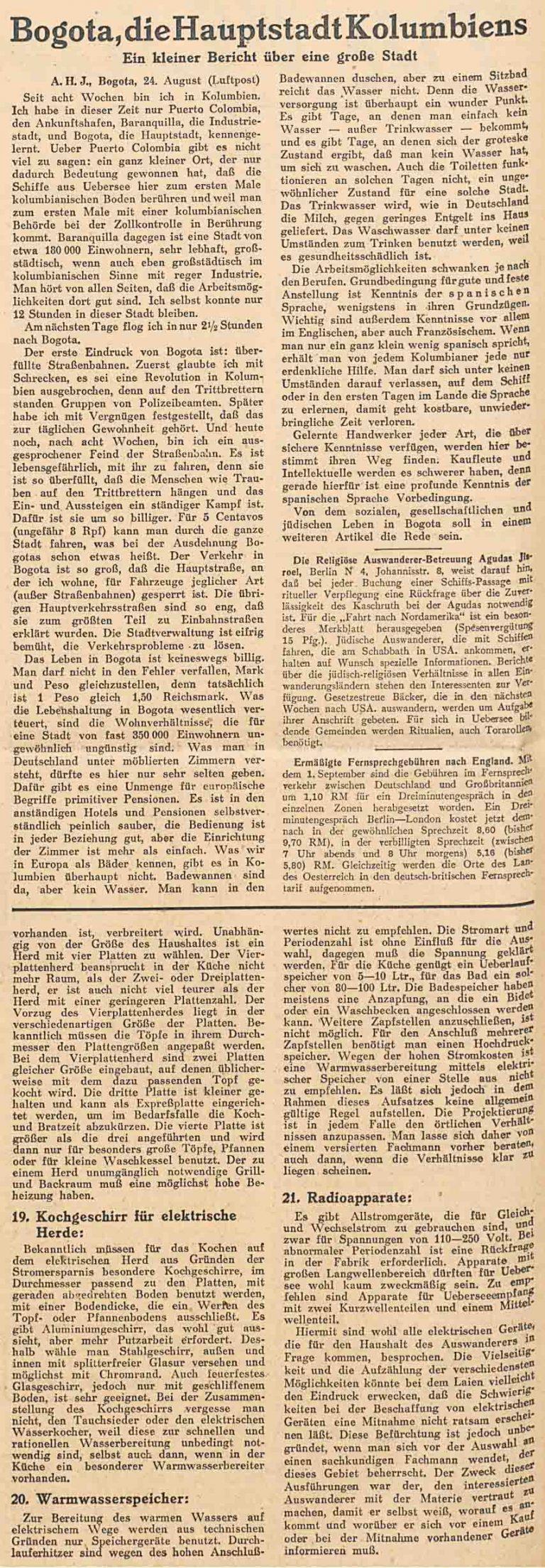 C.V.-Zeitung. Allgemeine Zeitung des Judentums, 8. September 1938 Der Artikel über Bogotá beleuchtet die Auswanderungsmöglichkeiten in die kolumbianische Hauptstadt und das dortige Leben. Universitätsbibliothek Johann Christian Senckenberg, Frankfurt am Main