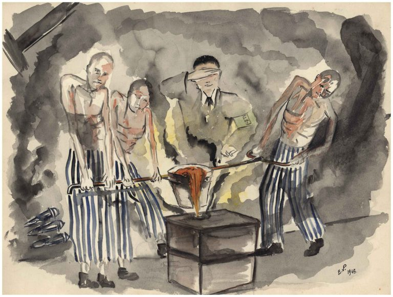 "Sachsenhausen concentration camp prisoners doing casting work in the satellite camp ""Klinker"" In the Sachsenhausen concentration camp, as a Jew, he is assigned to the toughest work crew in the ""brickworks"": ""On a winter day, an SS man knocked me unconscious at work. He thought I was dead and left me lying in the snow. At the end of the work day, prisoners stashed all bodies – and me – on a wheelbarrow. The bodies were supposed to be burned at the camp. On the way there, I woke up, and my comrades helped me into the barrack."" Water colour: Etienne van Ploeg, 1945 / Gedenkstätte und Museum Sachsenhausen"