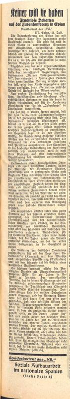 """""""Keiner will sie haben"""", Völkischer Beobachter, 12. Juli 1938 Bundesarchiv, Berlin, R 58-3426a, Bl. 97"""
