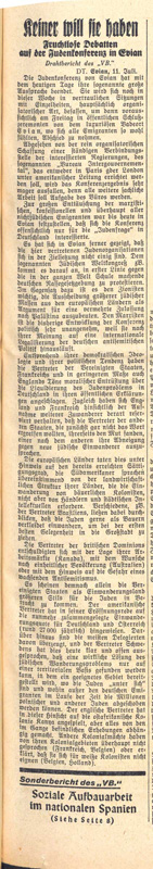 """No one wants them. Fruitless Debates at the Jew Conference"", Völkischer Beobachter, July 12, 1938 Bundesarchiv, Berlin, R 58-3426a, Bl. 97"