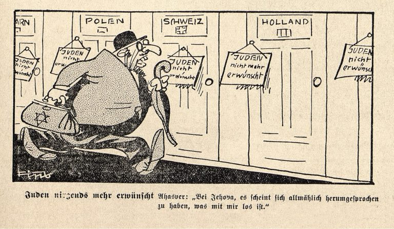 """Cartoon """"No one wants Jews anymore,"""" 1938 Philipp Rupprecht, aka """"Fips,"""" illustrator for the rabidly antisemitic tabloidDer Stürmer, invents """"Ahasver, the Eternal Jew,"""" as his """"Stürmer-Jew"""" stereotype. He depicts """"Ahasver"""" stating that """"no one wants Jews anymore"""". Philipp Rupprecht / Der Stürmer 20/1938"""