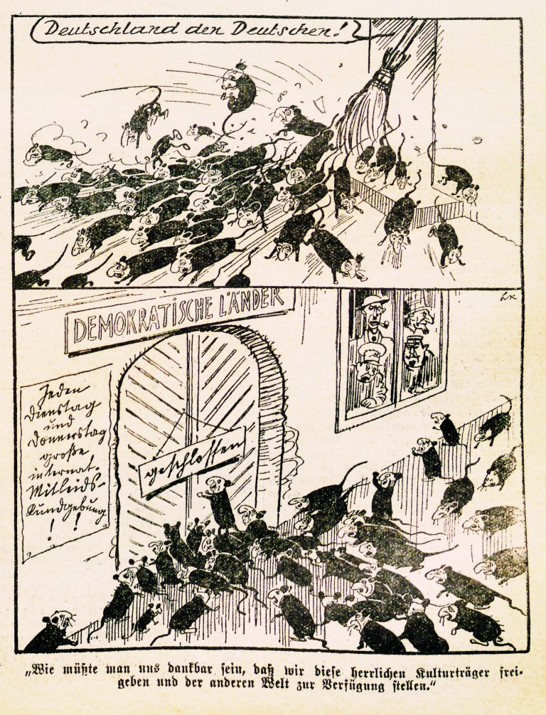 """LK (Ladislaus Kmoch): Untitled cartoon,Das Kleine Blatt, February 2, 1939 Ladislaus Kmoch, long-time cartoonist for the formerly Social Democratic tabloid in Vienna,Das Kleine Blatt, portrays Jews as rats who have been expelled from Germany. Democratic states, while expressing sympathy, keep their gates shut as well. Shortly afterwards, this depiction of Jews as vermin to be exterminated is used in the propaganda film """"The Eternal Jew,"""" to justify the mass murder of Jews in occupied Poland. Ladislaus Kmoch / Österreichische Nationalbibliothek, Wien, 608.331-D.Neu-Per"""