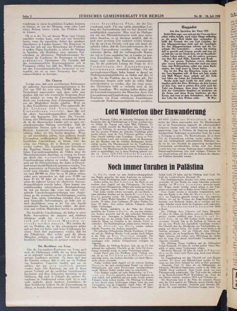 """Jüdisches Gemeindeblatt. Organ des Vorstandes der Jüdischen Gemeinde zu Berlin, 24. Juli 1938,S. 2/2 Für den Kommentator desJüdischen Gemeindeblattsrechtfertigen die Ergebnisse der Konferenz in Évian """"eine positive Bewertung"""" und einen """"gedämpften Optimismus"""", da Aussicht bestehe auf """"einen brauchbaren Plan, der die Auswanderung regelt"""". Leo Baeck Institute, New York, NY"""