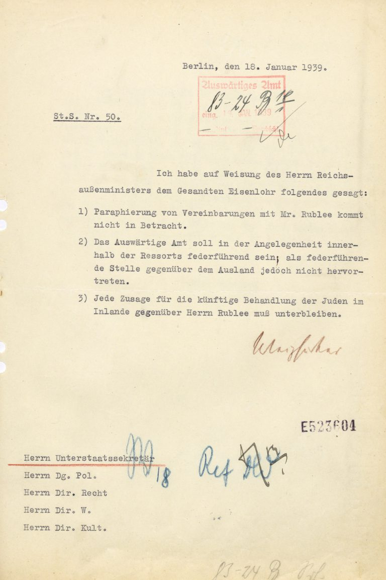 "Note from Ernst v. Weizsäcker, State Secretary in the Foreign Office, about the instructions to the German Ambassador in London, January 18, 1939 The ""Schacht-Rublee Plan"" is never launched, in part because of its extremely negative reception by international Jewish organizations but also because the German Foreign Minister categorically refuses to sign off on it, utterly rejecting ""any commitments on dealing with the Jews"" in Germany. Auswärtiges Amt / Politisches Archiv, Berlin, R 99366"
