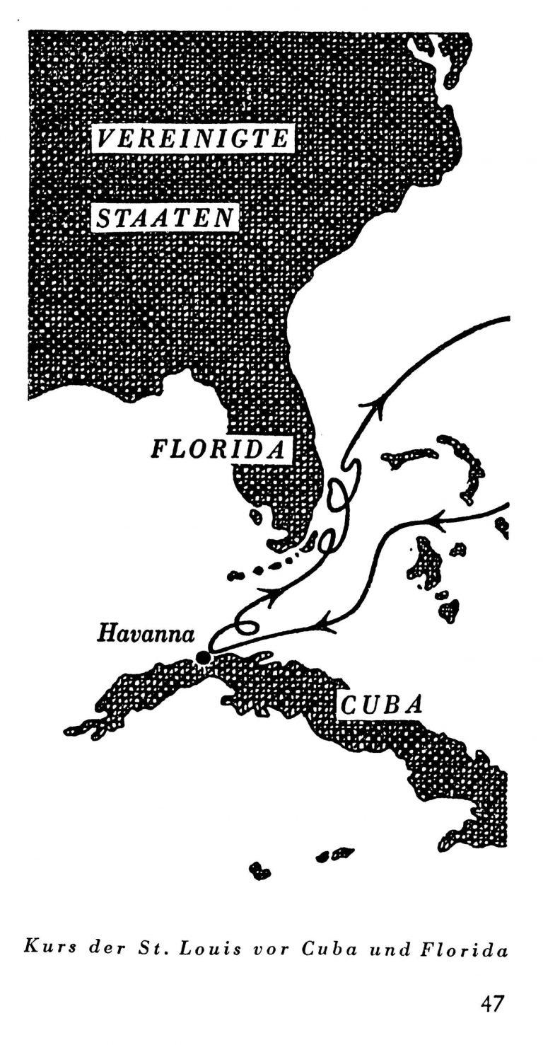Kurs der St. Louis vor Kuba und Florida Gustav Schröder, Heimatlos auf hoher See, Berlin 1949 / Jürgen Glaevecke, Hamburg