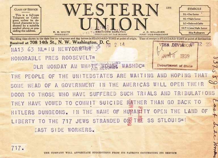 Telegram from East Side workers to President Roosevelt, June 6, 1939 Despite dramatic appeals by passengers on the Orduna as well as by numerous famous and ordninary Americans, like the workers from New York's East Side, President Roosevelt, under pressure from Secretary of State Cordell Hull, refuses to admit the passengers of either ship to the US. Only in September of 1940, after a stopover in Panama's Canal Zone, can the Orduna's remaining 55 passengers enter the US. National Archives, College Park, MD