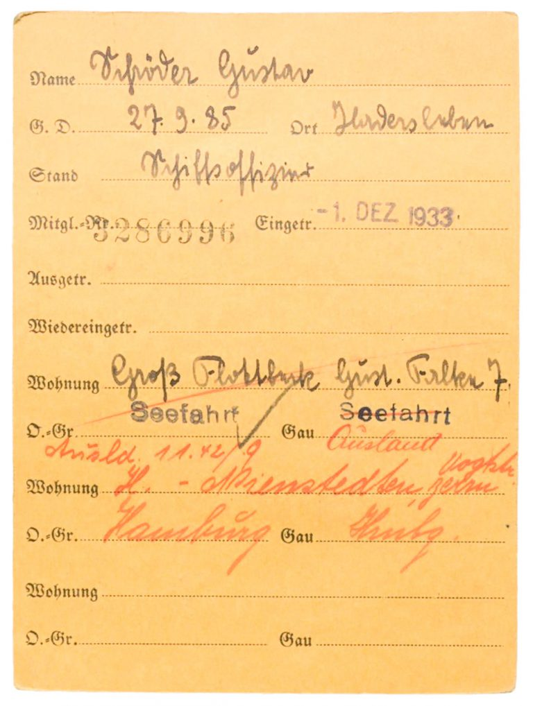 "Gustav Schröder's Nazi Party membership card, 1933 (front) Although a member of the Nazi Party since 1933 the captain of the St. Louis shows sympathy towards the desperate Jewish refugees. He delays the requested return to Hamburg and even considers letting his ship run aground on the English coast, in order to save his passengers from almost certain incarceration in a concentration camp. For his conduct, he is honored with the title ""Righteous Among the Nations"" by the Israeli memorial site Yad Vashem on March 11, 1993. Bundesarchiv, Berlin, R 9361-VIII KARTEI 21200246"