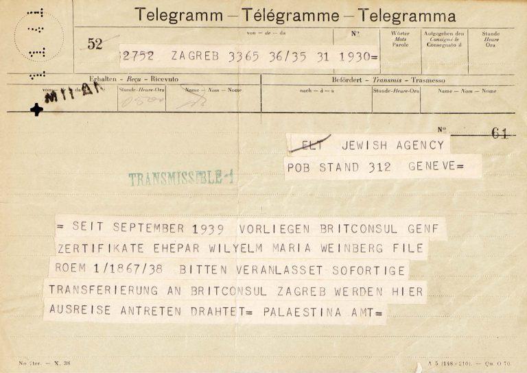 Jewish Agency Zagreb an Jewish Agency Genf, 1. Januar 1941 Durch Vorlage eines Shanghai-Visums erreicht Maria Weinberg die Entlassung ihres Sohnes aus dem KZ Sachsenhausen. Da aber das Shanghai-Visum inzwischen abgelaufen ist, flieht die Familie Ende 1940 mit Hilfe eines Schleppers nach Jugoslawien, um von dort nach Palästina zu gelangen. Im zerfallenden Jugoslawien wird die Familie immer wieder inhaftiert und landet schließlich in einem Gefängnis im damals italienischen Fiume (Rijeka). Von dort werden sie 1942 in das kalabrische Internierungslager Ferramonti verlegt. Central Zionist Archives, Jerusalem