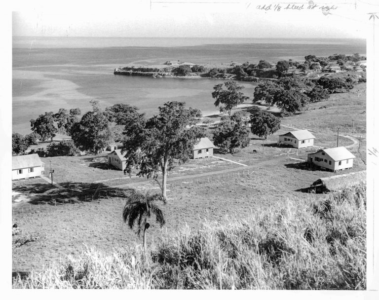 The Jewish Settlement on the bay of Sosúa, 1940  Using donated funds, DORSA purchases land for the settlement in Sosúa, takes over the selection of settlers in Europe and organizes their passage to the Dominican Republic. After the founding of the Sosúa Settlement in 1940, about 500 families from Central Europe settle there. Overall, instead of the 50,000–100,000 refugees mentioned in Trujillo's offer, only about 3,000 find refuge in the Dominican Republic. For many of them, the island nation is only a transit station on the way to the US. However, some descendants of the settlers still live in Sosúa, which has developed into one of the country's tourist centers. Photo: Dr. Kurt Schnitzer, Photo Conrado, American Jewish Joint Distribution Committee Archives, New York, NY