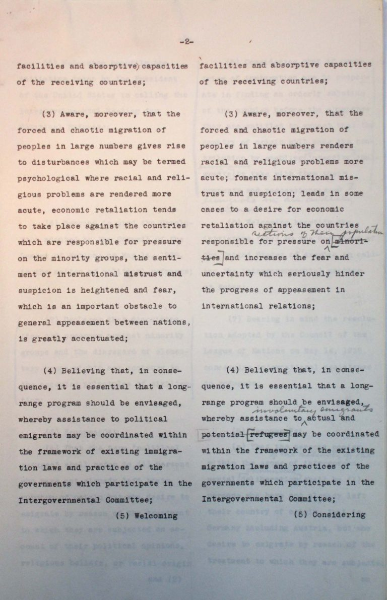 "Comparison of the American and the Franco-British drafts for the conference's final resolution, undated (July 1938), p. 2/7 An American-British-French editorial team prepares a draft for the conference's final resolution. After the ""Big Three"" have agreed on the text, Taylor must assuage the fears of numerous Central American states that approval could lead to trade sanctions by the German Reich. National Archives, College Park, MD"