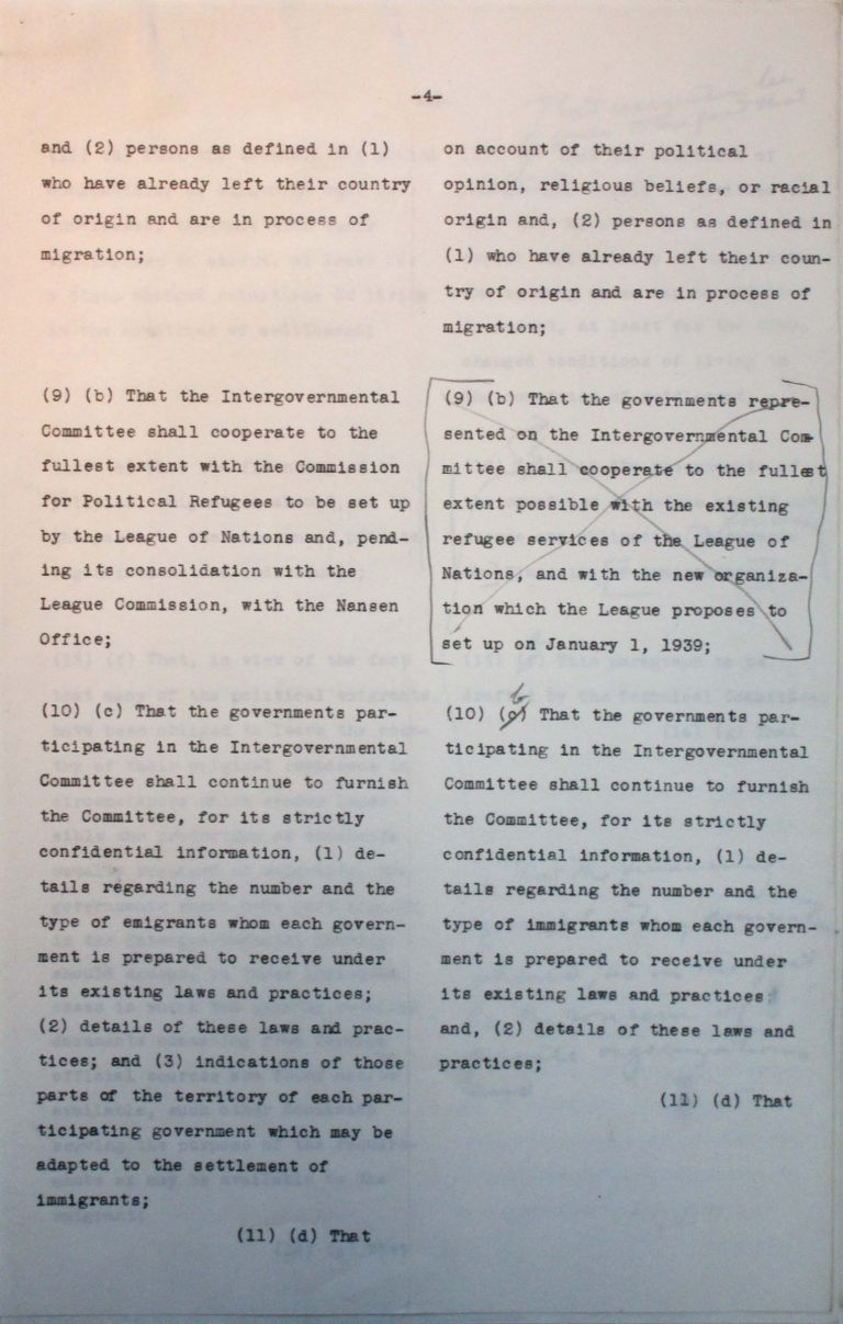 "Comparison of the American and the Franco-British drafts for the conference's final resolution, undated (July 1938), p. 4/7 An American-British-French editorial team prepares a draft for the conference's final resolution. After the ""Big Three"" have agreed on the text, Taylor must assuage the fears of numerous Central American states that approval could lead to trade sanctions by the German Reich. National Archives, College Park, MD"