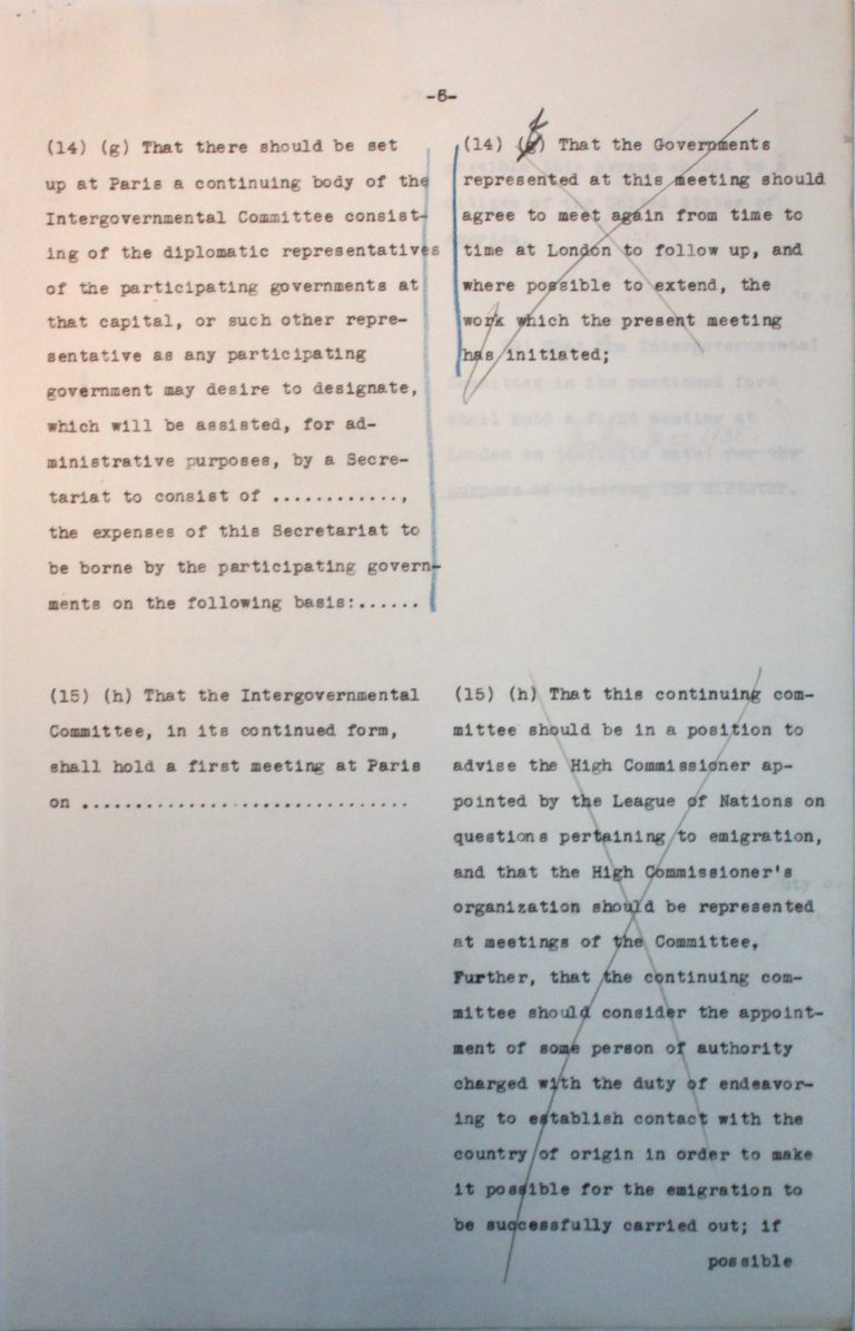 "Comparison of the American and the Franco-British drafts for the conference's final resolution, undated (July 1938), p. 6/7 An American-British-French editorial team prepares a draft for the conference's final resolution. After the ""Big Three"" have agreed on the text, Taylor must assuage the fears of numerous Central American states that approval could lead to trade sanctions by the German Reich. National Archives, College Park, MD"