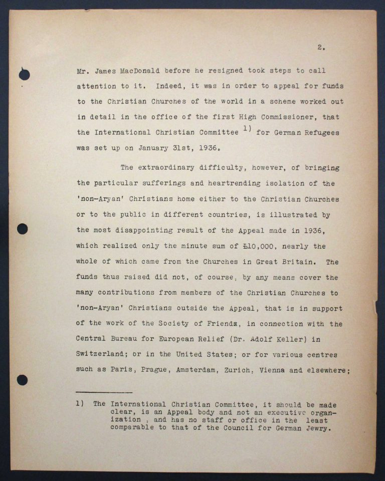 "Memorandum by the International Christian Committee for German Refugees, July 6, 1938, p. 2/9 Mary Ormerod – a civil servant at the British Ministry of Health and Labour and a Labour politician – and her husband, the physician Frank Cunliffe Ormerod, host numerous refugees from Germany at their home in London's Hampstead district. In Évian, Mary Ormerod represents the Quakers (the Society of Friends) and the International Christian Committee for German Refugees, which especially advocates on behalf of ""non-Aryan"" Christians. Franklin D. Roosevelt Library, Hyde Park, NY"