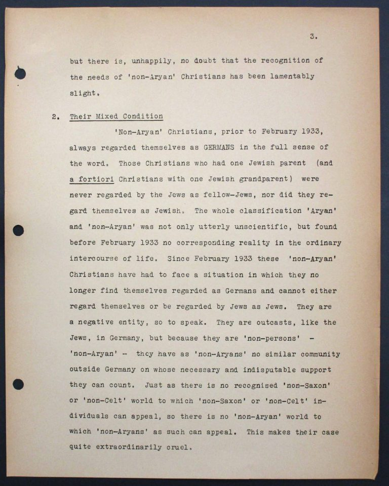 "Memorandum by the International Christian Committee for German Refugees, July 6, 1938, p. 3/9 Mary Ormerod – a civil servant at the British Ministry of Health and Labour and a Labour politician – and her husband, the physician Frank Cunliffe Ormerod, host numerous refugees from Germany at their home in London's Hampstead district. In Évian, Mary Ormerod represents the Quakers (the Society of Friends) and the International Christian Committee for German Refugees, which especially advocates on behalf of ""non-Aryan"" Christians. Franklin D. Roosevelt Library, Hyde Park, NY"