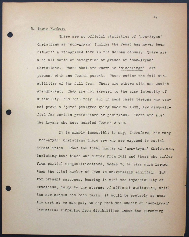 "Memorandum by the International Christian Committee for German Refugees, July 6, 1938, p. 4/9 Mary Ormerod – a civil servant at the British Ministry of Health and Labour and a Labour politician – and her husband, the physician Frank Cunliffe Ormerod, host numerous refugees from Germany at their home in London's Hampstead district. In Évian, Mary Ormerod represents the Quakers (the Society of Friends) and the International Christian Committee for German Refugees, which especially advocates on behalf of ""non-Aryan"" Christians. Franklin D. Roosevelt Library, Hyde Park, NY"
