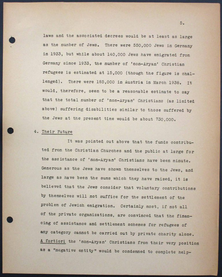 "Memorandum by the International Christian Committee for German Refugees, July 6, 1938, p. 5/9 Mary Ormerod – a civil servant at the British Ministry of Health and Labour and a Labour politician – and her husband, the physician Frank Cunliffe Ormerod, host numerous refugees from Germany at their home in London's Hampstead district. In Évian, Mary Ormerod represents the Quakers (the Society of Friends) and the International Christian Committee for German Refugees, which especially advocates on behalf of ""non-Aryan"" Christians. Franklin D. Roosevelt Library, Hyde Park, NY"