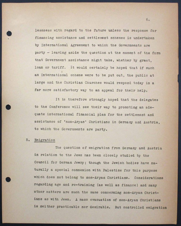 "Memorandum by the International Christian Committee for German Refugees, July 6, 1938, p. 6/9 Mary Ormerod – a civil servant at the British Ministry of Health and Labour and a Labour politician – and her husband, the physician Frank Cunliffe Ormerod, host numerous refugees from Germany at their home in London's Hampstead district. In Évian, Mary Ormerod represents the Quakers (the Society of Friends) and the International Christian Committee for German Refugees, which especially advocates on behalf of ""non-Aryan"" Christians. Franklin D. Roosevelt Library, Hyde Park, NY"