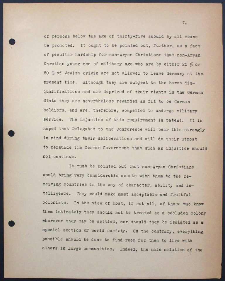 "Memorandum by the International Christian Committee for German Refugees, July 6, 1938, p. 7/9 Mary Ormerod – a civil servant at the British Ministry of Health and Labour and a Labour politician – and her husband, the physician Frank Cunliffe Ormerod, host numerous refugees from Germany at their home in London's Hampstead district. In Évian, Mary Ormerod represents the Quakers (the Society of Friends) and the International Christian Committee for German Refugees, which especially advocates on behalf of ""non-Aryan"" Christians. Franklin D. Roosevelt Library, Hyde Park, NY"