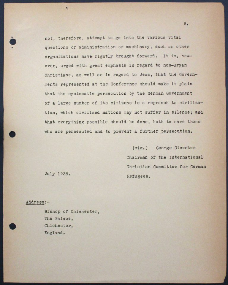 "Memorandum by the International Christian Committee for German Refugees, July 6, 1938, p. 9/9 Mary Ormerod – a civil servant at the British Ministry of Health and Labour and a Labour politician – and her husband, the physician Frank Cunliffe Ormerod, host numerous refugees from Germany at their home in London's Hampstead district. In Évian, Mary Ormerod represents the Quakers (the Society of Friends) and the International Christian Committee for German Refugees, which especially advocates on behalf of ""non-Aryan"" Christians. Franklin D. Roosevelt Library, Hyde Park, NY"