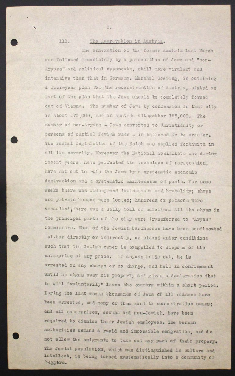 """Memorandum of Certain Jewish Organizations Concerned with the Refugees from Germany and Austria"", July 1938, p. 3/13 The memorandum describes the dramatic situation of German and Austrian Jews, who within only a few years have been systematically reduced to a community of beggars. The comparison with earlier refugee movements, such as that of the Huguenots in the late 17th century or of Germans after the failed revolution of 1848, is intended to convince the conference participants of the positive economic and social effects of immigration. Hence the integration of refugees is described as preferable to their isolation in settlements in uncultivated areas. Franklin D. Roosevelt Library, Hyde Park, NY"