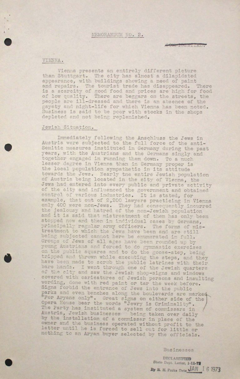 George L. Brandt, Memorandum on the situation of Jews in Vienna, July 23, 1938, p. 1/3 Franklin D. Roosevelt Library, Hyde Park, NY
