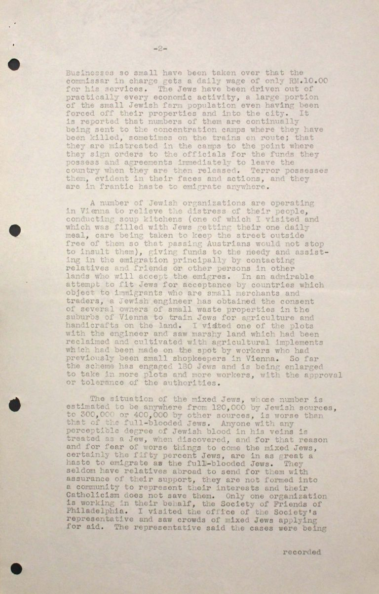George L. Brandt, Memorandum on the situation of Jews in Vienna, July 23, 1938, p. 2/3 Franklin D. Roosevelt Library, Hyde Park, NY