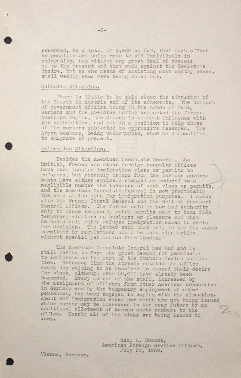 George L. Brandt, Memorandum on the situation of Jews in Vienna, July 23, 1938, p. 3/3 Franklin D. Roosevelt Library, Hyde Park, NY