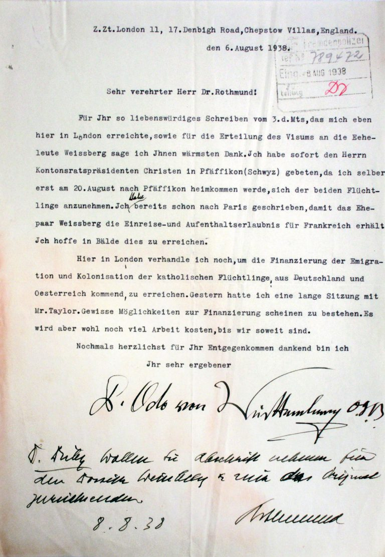 Pater Odo to the Director of the Swiss Immigration Police, August 6, 1938 Pater Odo (Carl Alexander, Duke of Württemberg), the Catholic youth leader for his home region, is expelled to Switzerland in April 1934 after repeated Gestapo interrogations. In Switzerland, he runs an aid organization for Catholic refugees. Schweizerisches Bundesarchiv, Bern, E4300B#1000844#90