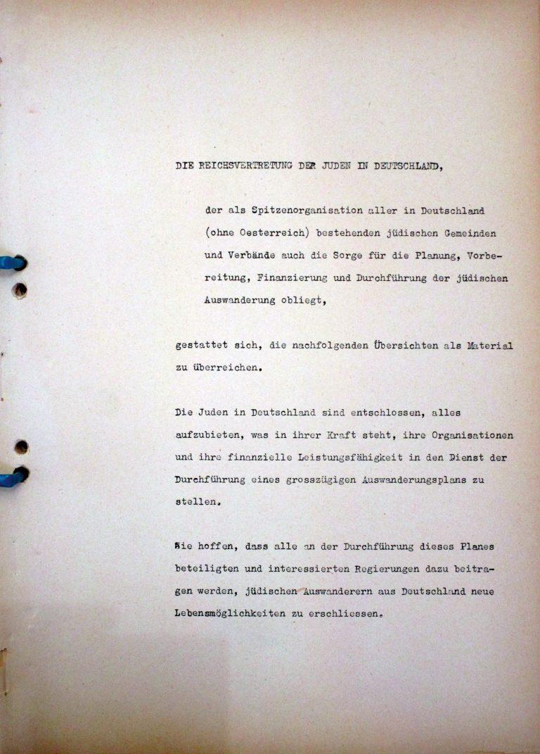"""Reich Representation of Jews in Germany, foreword to the memorandum """"Zur Konferenz von Evian"""" [On the Conference in Évian], July 1938 Auswärtiges Amt / Politisches Archiv, Berlin, R 127880"""