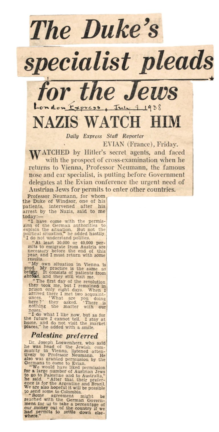 """The Duke's specialist pleads for the Jews,"" Daily Express, London, July 9, 1938  Franklin D. Roosevelt Library, Hyde Park, NY"