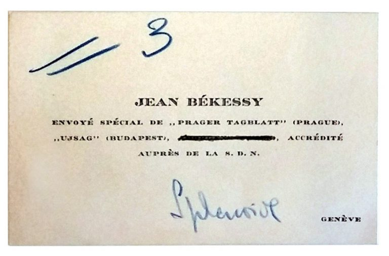 Business card of Jean Békessy (Hans Habe) with blue conference registration number Under his original name, he is accredited as correspondent of the Prager Tagblatt (German-language Prague newspaper) at the League of Nations in Geneva and at the refugee conference in Évian, where he is staying at the Hotel Splendide. United Nations Archives, Genf