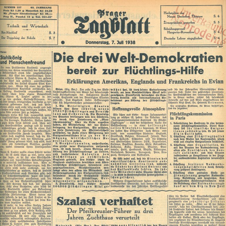 "Prager Tagblatt , July 7, 1938 Based on his reports for the Prager Tagblatt, Hans Habe [Békessy] publishes his documentary novel, ""The Mission"", in 1965. Collegium Carolinum, München"