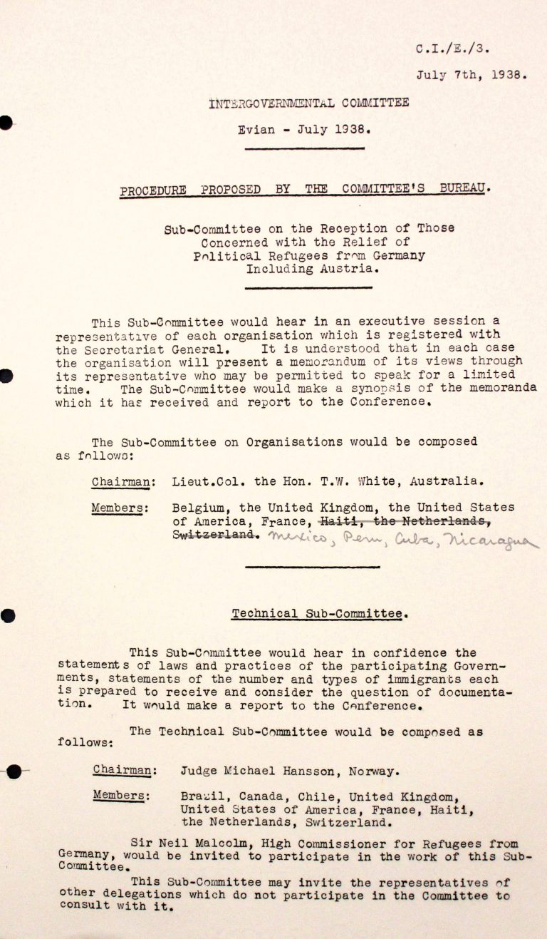 Conference leadership: proposal on working methods, July 7, 1938  The conference has two subcommittees: One will hear the representatives of non-governmental organizations and summarize their opinions. The other – the Technical Subcommittee – will meet privately to discuss immigration regulations in the participating states. No state sees any possibilities to receive additional refugees on the basis of its regulations. Franklin D. Roosevelt Library, Hyde Park, NY