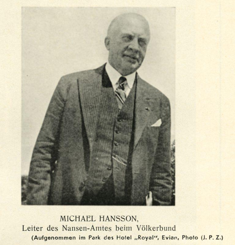 """Michael Hansson in Évian Michael Hansson, seit 1936 Präsident des """"Nansen-Büros"""", ist Delegierter Norwegens und wird Vorsitzender des Technischen Unterkomitees der Konferenz. Jüdische Presszentrale Zürich, Nr. 999/1.000 vom 15. Juli 1938 / Archiv für Zeitgeschichte / ETH Zürich"""