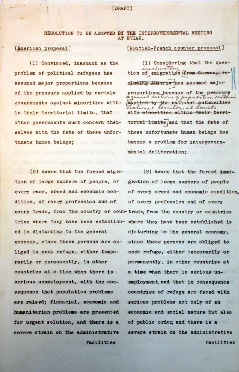 "Comparison of the American and the Franco-British drafts for the conference's final resolution, undated (July 1938), p. 1/7 An American-British-French editorial team prepares a draft for the conference's final resolution. After the ""Big Three"" have agreed on the text, Taylor must assuage the fears of numerous Central American states that approval could lead to trade sanctions by the German Reich. National Archives, College Park, MD"