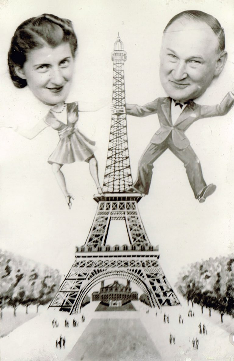 Erika and Friedrich Reichmann on a joke postcard from Paris, summer of 1938  Dental surgeon Friedrich Reichmann of Katowice travels to Évian to observe the conference for the Polish branch of the Jewish B'nai B'rith lodge. He is accompanied by his daughter Erika, who is studying in Paris. Both later manage to flee to the US; the rest of their family is murdered in the Holocaust. Katarina Daniels, Montreal