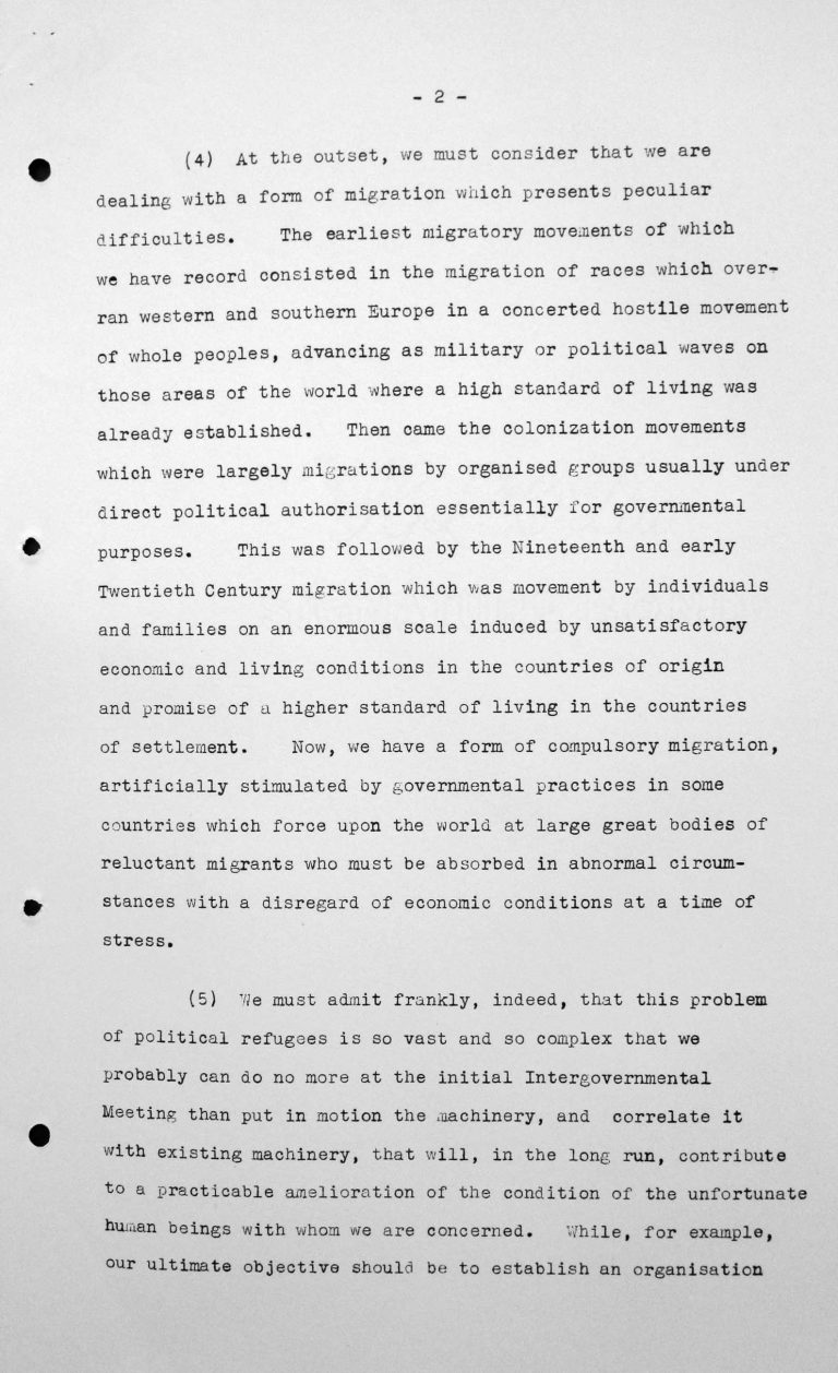 Opening address by Myron C. Taylor in the public session on July 6, 1938, 4pm, p. 2/6 Franklin D. Roosevelt Library, Hyde Park, NY