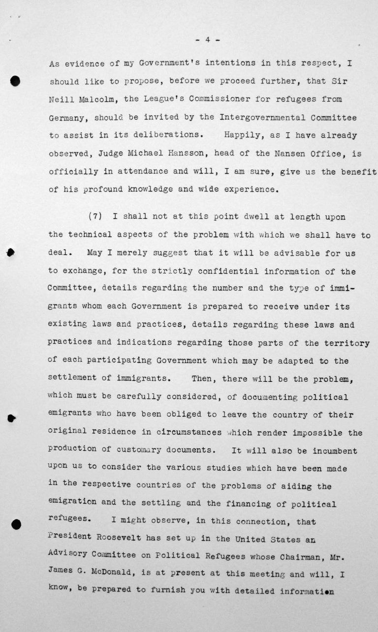 Opening address by Myron C. Taylor in the public session on July 6, 1938, 4pm, p. 4/6 Franklin D. Roosevelt Library, Hyde Park, NY