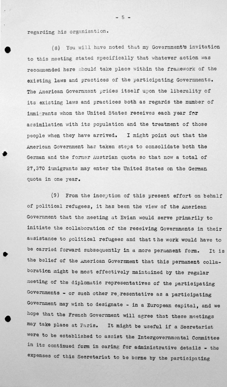 Opening address by Myron C. Taylor in the public session on July 6, 1938, 4pm, p. 5/6 Franklin D. Roosevelt Library, Hyde Park, NY