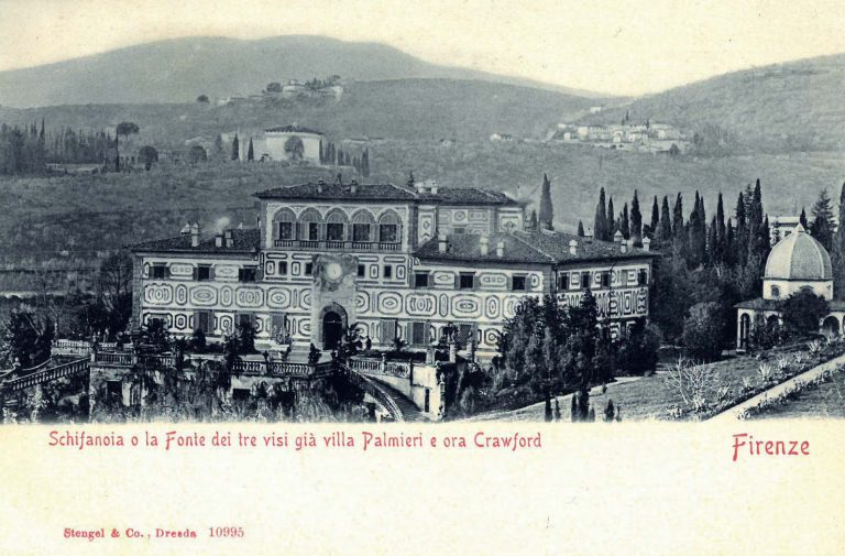 Villa Schifanoia, picture postcard, undated Though Taylor is experienced in negotiations with trade unions and business partners, he has not yet dealt with the refugee challenge. Therefore, at the end of April 1938, in preparation for the conference, he retires to the Renaissance-era Villa Schifanoia near Florence, which he had acquired in 1927 and restored, and to which he had added a terraced Italian garden. Stengel & Co., Dresden, No. 10995