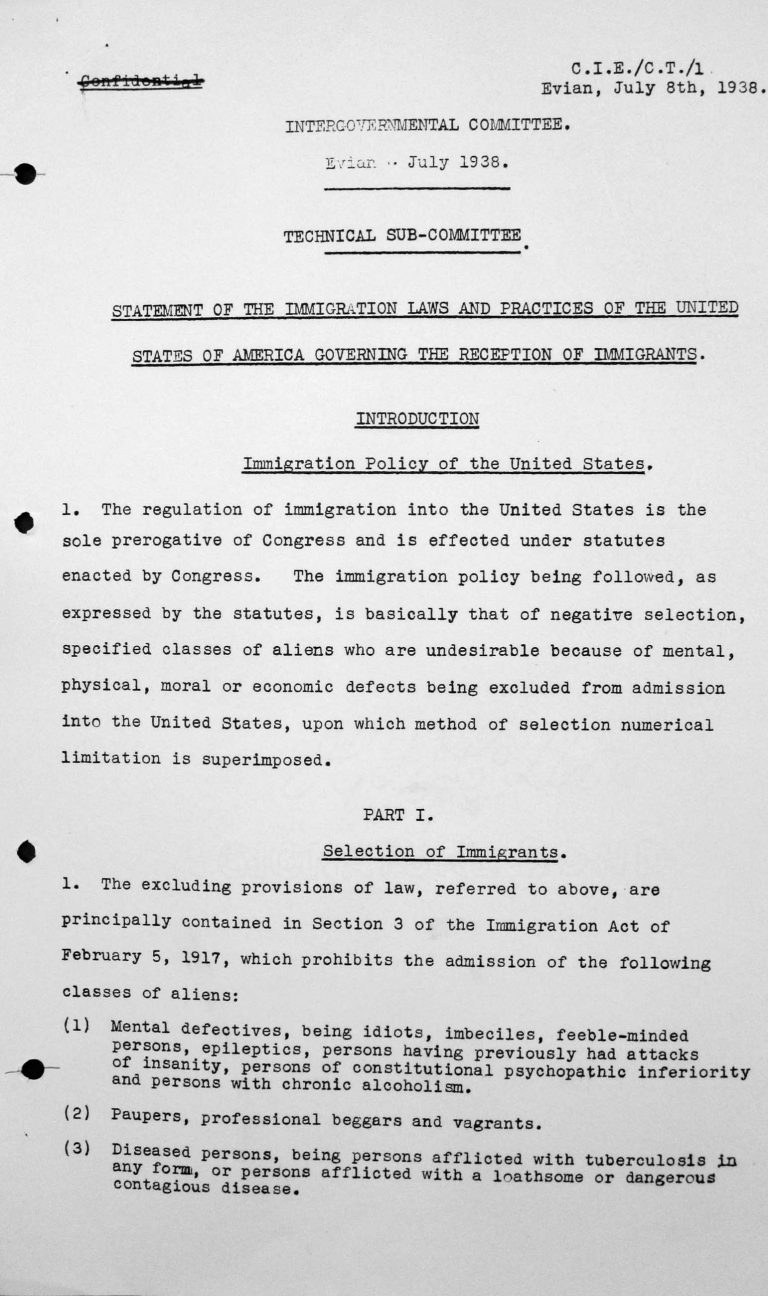 Statement for the Technical Sub-Committee on the immgration laws and practices of the United States of America governing the reception of immigrants, July 8, 1938, p. 1/9 Franklin D. Roosevelt Library, Hyde Park, NY