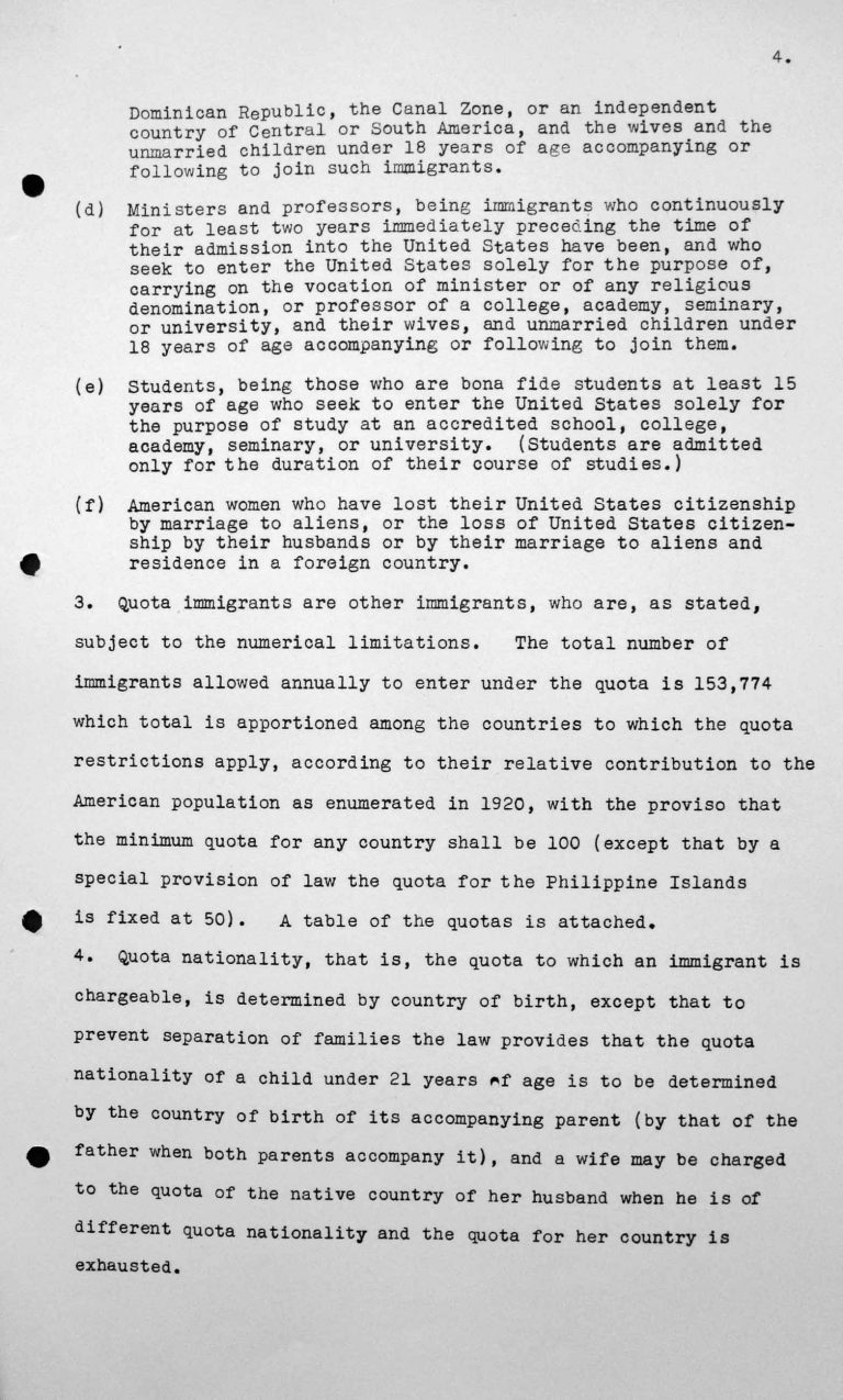 Statement for the Technical Sub-Committee on the immgration laws and practices of the United States of America governing the reception of immigrants, July 8, 1938, p. 4/9 Franklin D. Roosevelt Library, Hyde Park, NY