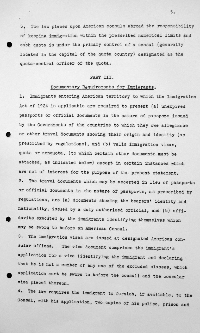 Statement for the Technical Sub-Committee on the immgration laws and practices of the United States of America governing the reception of immigrants, July 8, 1938, p. 5/9 Franklin D. Roosevelt Library, Hyde Park, NY