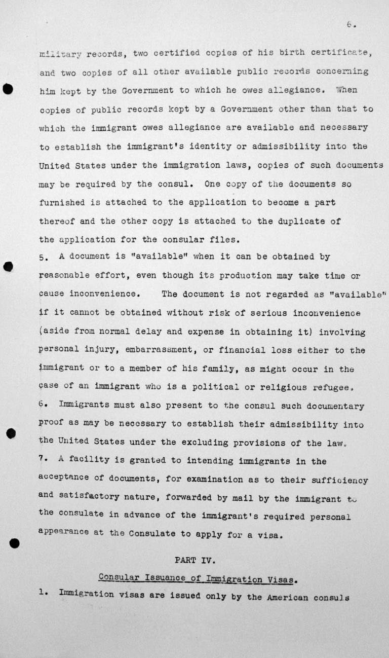 Statement for the Technical Sub-Committee on the immgration laws and practices of the United States of America governing the reception of immigrants, July 8, 1938, p. 6/9 Franklin D. Roosevelt Library, Hyde Park, NY