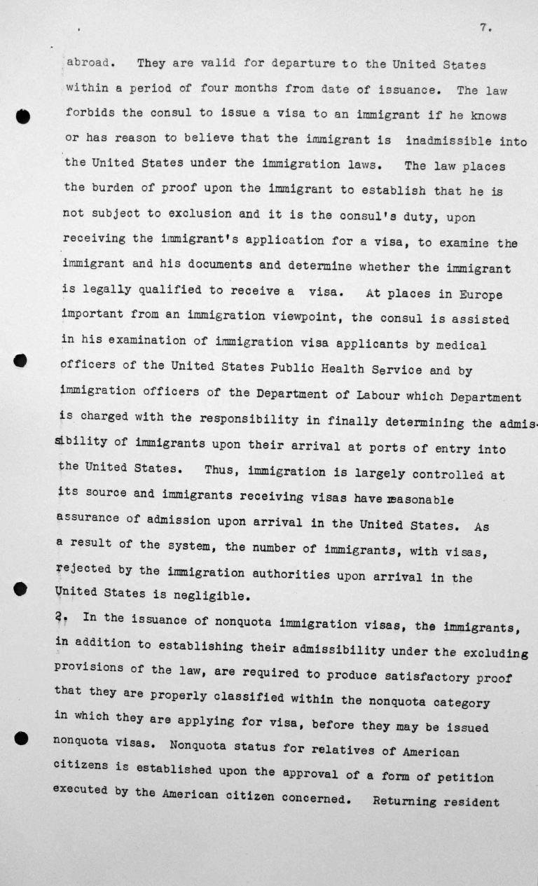 Statement for the Technical Sub-Committee on the immgration laws and practices of the United States of America governing the reception of immigrants, July 8, 1938, p. 7/9 Franklin D. Roosevelt Library, Hyde Park, NY