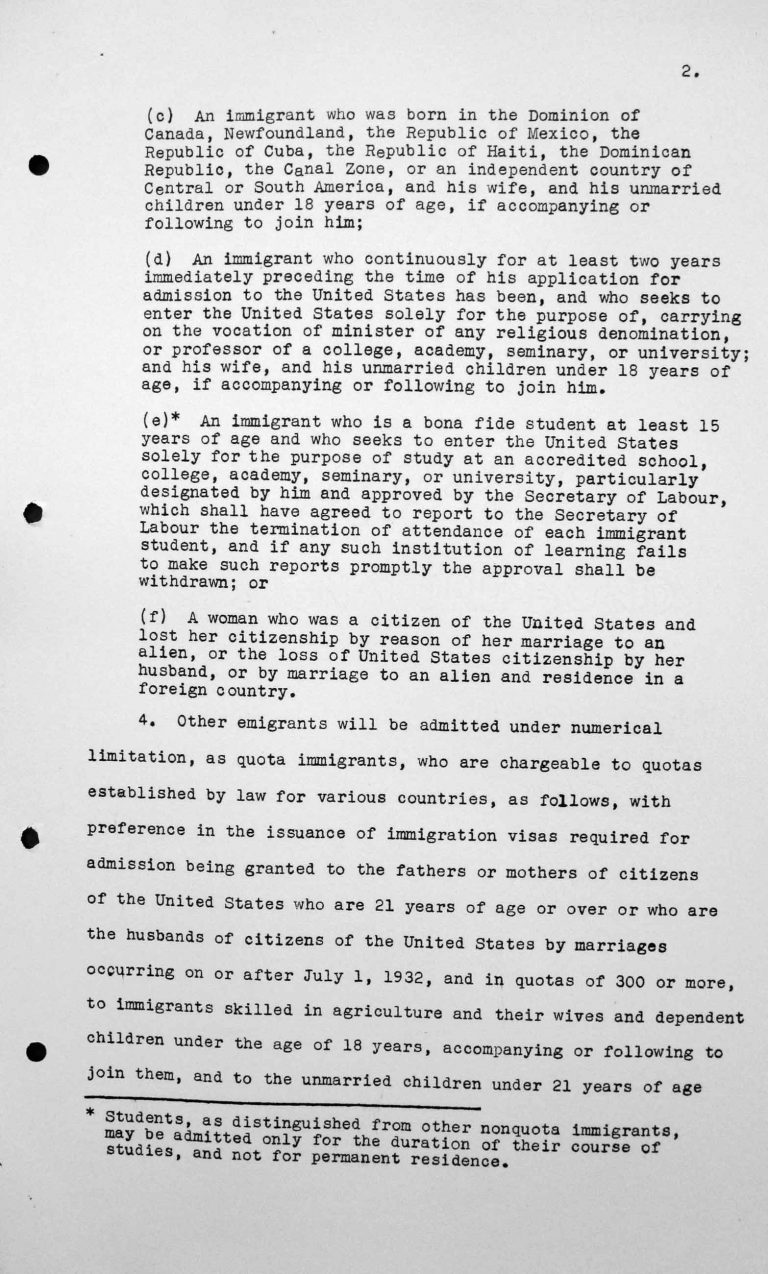 Statement for the Technical Sub-Committee of details regarding the number and the type of immigrants which the Government of the United States is prepared to receive under its existing laws and practices, July 8, 1938, p. 2/4 Franklin D. Roosevelt Library, Hyde Park, NY