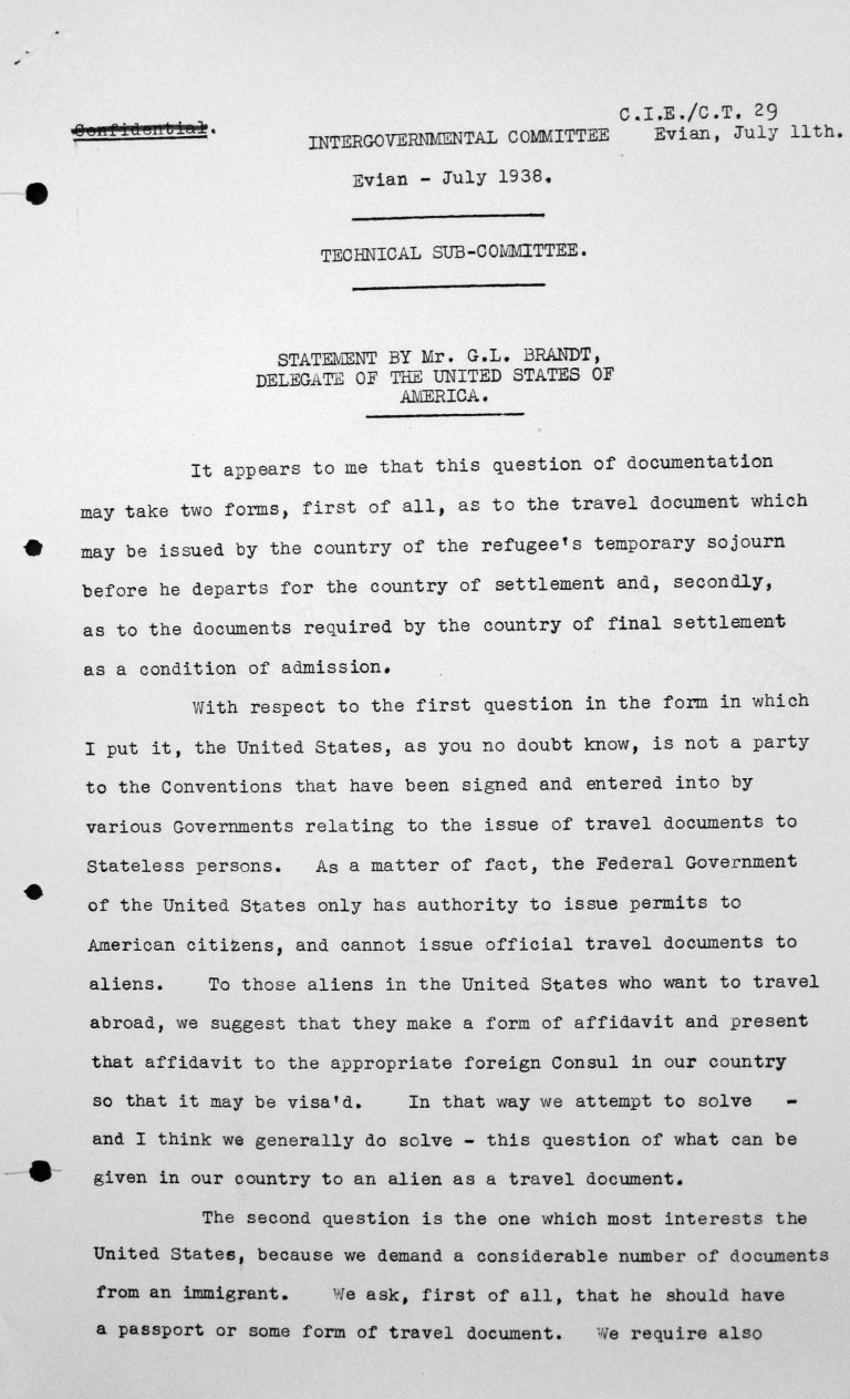 Statement for the Technical Sub-Committee by George L. Brandt, Delegation of the United States of America, July 11, 1938, p. 1/2 Franklin D. Roosevelt Library, Hyde Park, NY