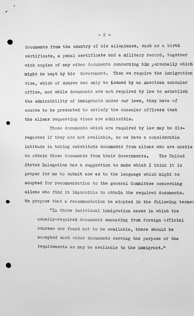 Statement for the Technical Sub-Committee by George L. Brandt, Delegation of the United States of America, July 11, 1938, p. 2/2 Franklin D. Roosevelt Library, Hyde Park, NY
