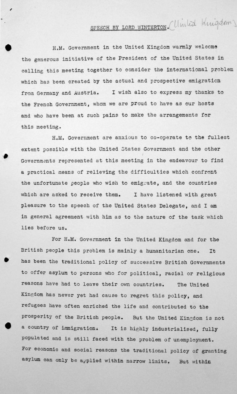 Speech by Lord Winterton in the public session on July 6, 1938, 4pm, p. 1/7 Franklin D. Roosevelt Library, Hyde Park, NY
